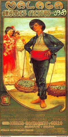 ANTIGUO Cuadro cartel (en madera). Cenachero. FERIA de MALAGA año 1909 . Reproducción 100X50 cm (Papel - Carteles Gran Formato - Carteles Publicitarios)