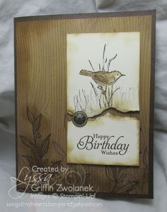 Song of my heart stampers - Lyssa Griffin Zwolanek from wood grain stamp bg. Like the torn layer with the large brad