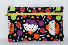The Happy Halloween Cupcake zipper pouch with by EverydaySugar, $6.00