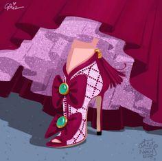 Los artistas de Disney, Griz y Norm Lemay, se imaginaron cómo serían los zapatos de algunos de los personajes más emblemáticos de las películas de Disney, si fueran creados por diseñadores como Louboutin o Manolo Blahnik.