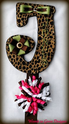 Leopard Print Monogrammed Bow Holder with by WombtoGrowDesigns, $22.50