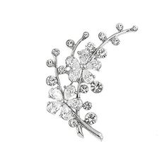 Dazzling Flower Brooch with Silver Austrian Element Crystal and CZ (3310).More info for brooch bouquet;saree brooch online;antique pins;fashion brooches and pins;brooch for mens coat could be found at the image url.(This is an Amazon affiliate link and I receive a commission for the sales)