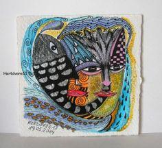 DER SCHWARZE FISCH - Minibild von Herbivore11 Unikat kleine Kunst Bild Fische