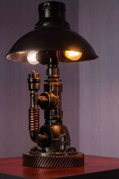 UNIQUE STEAMPUNK INDUSTRIAL PIPE DESK TABLE HANDMADE LAMP INCLUDED ADAPTER BULB #Handmade