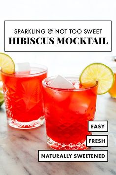 Looking for a not-too-sweet mocktail recipe? This sparkling non-alcoholic hibiscus drink is just the ticket! It's colorful, festive, and simple to make. #mocktail #nonalcoholic #punch #partydrink #lowcalorie #cookieandkate Healthy Dessert Recipes, Real Food Recipes, Cookie Recipes, Easy Desserts, Vegan Recipes, Tea Cocktails, Party Drinks, Healthy Smoothies, Smoothie Recipes