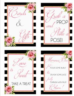 Kate Spade Inspired Bridal Shower Signs- Black-White-Gold-Pink-DIGITAL DOWNLOAD by katieminchdesigns on Etsy https://www.etsy.com/listing/386129342/kate-spade-inspired-bridal-shower-signs