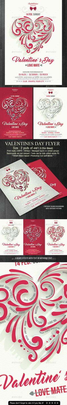 Valentines Day Flyer — Photoshop PSD #classy #valentine • Available here → https://graphicriver.net/item/valentines-day-flyer/14707697?ref=pxcr