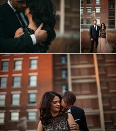 Engagement photo session with a classy couple in urban downtown Kansas City