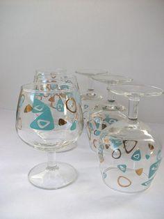 Vintage Amoeba Boomerang Aqua Drink Glasses