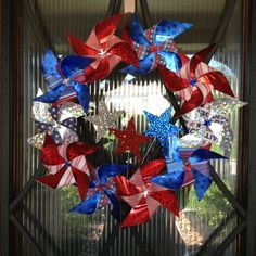 of July Pinwheel Wreath Fourth Of July Decor, 4th Of July Decorations, 4th Of July Party, July 4th, 4th Of July Wreaths, Patriotic Wreath, Patriotic Crafts, July Crafts, Summer Crafts