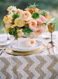 Wedding Colors Peach and Gold | Chevron Linens | Centerpiece | On SMP: http://www.stylemepretty.com/2013/07/12/wiup-gold-inspired-photo-shoot-winners    Chelsea Mitchell Photo