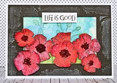 Card by Teresa Abajo using Darkroom Door Poppies Rubber Stamp Set. http://www.darkroomdoor.com/rubber-stamp-sets/rubber-stamp-set-poppies