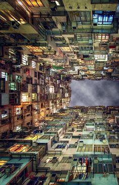 Looking up at apartments in Hong Kong