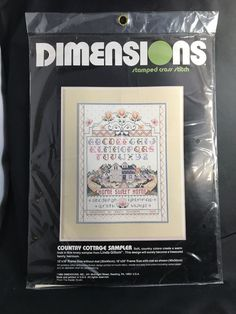 "NIP VINTAGE DIMENSIONS Stamped Cross Stitch Kit ""Country Cottage"" 12"" x 16""   