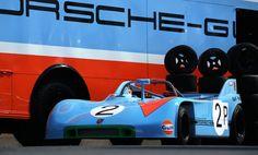 Gulf Porsche with transporter Classic 2014 Racing Team, Road Racing, Porsche Rsr, Car Photos, Le Mans, Bobber, Race Cars, Harley Davidson, Bike