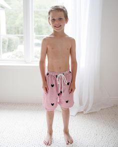 Mouse embroidered red seersucker with trunks with elastic and drawsting waist. Young Cute Boys, Cute Teenage Boys, Young Boys Fashion, Boy Fashion, Boy Models, Child Models, Cute Blonde Boys, Boys Swim Shorts, Cute Kids Photography