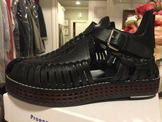 ENDING SOON:  Women's sandal 37Proenza Schouler woven blk leather ToledoNero wood sole chrome #shoes #designer