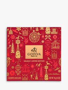 Godiva Christmas Red Christmas Mini Box, 4 Pieces, little bird told me Christmas Hamper, Christmas Minis, Christmas Design, Tea Packaging, Packaging Design, Bottle Packaging, Logo Design, Label Design, Layout Design