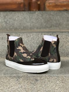 Short Boots, Brogues, Design Your Own, Calf Leather, Camouflage, Slip On, Stylish, Brown, Sneakers