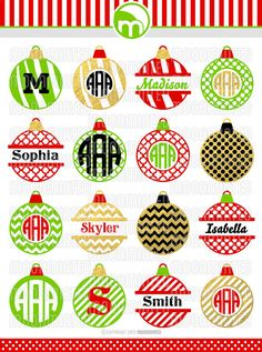 Christmas Ornament SVG Cut Files Monogram Frames by MoonMinted