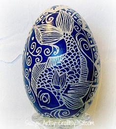 Ukrainian egg pysanka fish koi ocean blue egg by SuzysSitcomStore