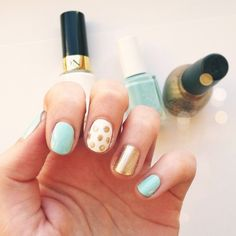 Mint, white,  gold. I have to buy some mint nail polish now - so cute!