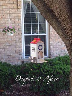 Bird feeder, craft carton of milk, comedero para pájaros, recycling, recycled, rehusa, recicla, reutiliza. Manualidades.