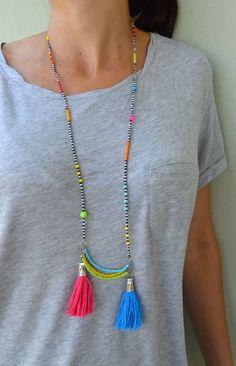 #tribal #boho #hippie #handmade #beaded #tassel #summer #necklace
