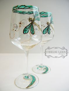 Set of 2- Hand Painted Wine Glass: Dragonfly Design. $70.00, via Etsy.