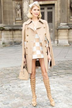 Elena Perminova at Paris Fashion Week. Such a cool sixties vibe about this Louis Vuitton/Versace combo. Retro inspired street style