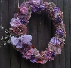 Hand made paper flower wreath, dip dyed, See me at the holy name fair, west roxbury ma