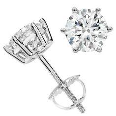 Round Brilliant 2.00 ctw VS2 Clarity, I Color Diamond Platinum Screwback Stud Earrings