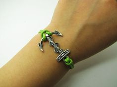 Adjustable Vintage Silver Bacelet  Green Anchor  by sevenvsxiao, $3.99