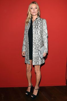 Who: Kate Moss%0AWhat: A Snakeskin Jacket%0AWhy: It doesn't get more luxe than an exotic jacket. The super kept the rest of her ensemble streamlined and chic in all black at the Gucci Spring show.%0AGet the look now: Gucci jacket, $3,850, gucci.com.%0AGetty Images  - HarpersBAZAAR.com