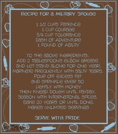 Recipe for Military Spouse