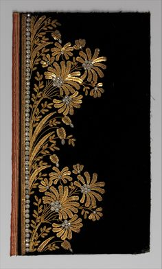 Five Embroidery samples for a men's suits, French ca. Silk embroidery + metal thread, sequins and glass on silk velvet Images via: The Metropolitan Museum of Art Zardozi Embroidery, Hand Work Embroidery, Embroidery Suits, Gold Embroidery, Embroidery Patterns, Machine Embroidery, Techniques Textiles, Molduras Vintage, Gold Work