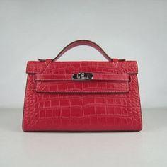 Hermes Crocodile Stripe Lederen Kelly Bag in Red Sac Hermes Kelly, Sac Birkin Hermes, Hermes Purse, Hermes Bags, Hermes Handbags, Replica Handbags, Leather Handbags, Best Handbags, Handbags On Sale