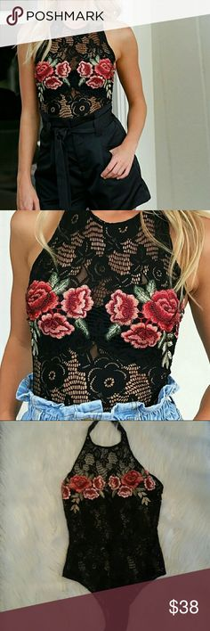 New* Embroidered Lace Bodysuit Brand new without tags! Size small. Button closure around neck and snap closure at bottom. Hidden zipper in back. Very soft, does stretch.. So darn cute..kept one for myself!  Offers welcome! Tops Tank Tops