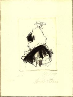 Original hand pulled Dry Point Etching female by uterathmann, €29.00