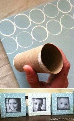 "Easy circles--geometric painting with toilet paper roll. Quick and easy craft project, especially for stationary or gift wrap! [via Creative Carmella: ""Toilet Paper Roll Painting.A DIY project""] Cute wall art. Cute Crafts, Crafts To Do, Crafts For Kids, Arts And Crafts, Easy Crafts, Toilet Paper Roll Crafts, Paper Crafts, Toilet Paper Rolls, Diy Wand"