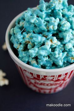 Marshmallow Popcorn Treat...just 3 ingredients: butter, marshmallows, and microwave popcorn! (And food coloring if you want to be festive!)