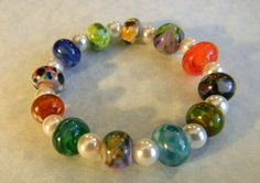 Multicolor Orphan Art Glass Lampwork Bead and Freshwater Pearl Stretch Bracelet