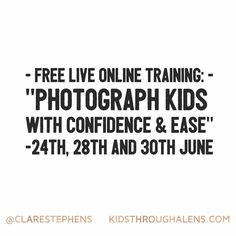 Good morning! I'm doing another free training today at 10am (and 2x times more next week) - this time you can come behind the scenes with me and see How To Photograph Kids With Confidence and Ease! It's happening today!  Here's the link to grab your spot with this FREE Live Masterclass! --> http://ift.tt/28Se65b  You will learn:  3 Most Common Mistakes Amateur Photographers Make When Photographing Babies and Children (and how to avoid them so they don't happen to you  My 3 Failsafe Tips for…