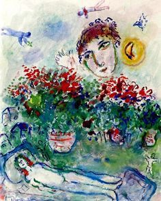 Marc Chagall Bouquet and naked