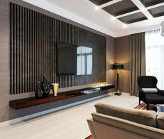 Epic Modern TV Wall Design Ideas For Stunning Living Room Decoration Nowadays TV is often found on walls, but when it comes to deciding how you want to make the perfect TV wall, it might be difficult to choose the right. Tv Wall Design, Tv Unit Design, House Design, Key Design, Flat Design, Modern Design, Tv Wall Decor, Wall Decorations, Wall Tv