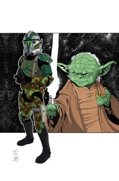 Star Wars - Commanders and Generals: Gree and Yoda by Tom Hodges