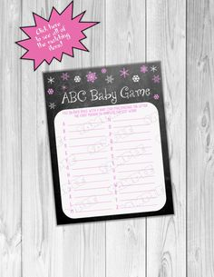 Snowflake Baby shower games pink chalkboard abc baby game Printable INSTANT DOWNLOAD  UPrint  by greenmelonstudios winter baby shower by greenmelonstudios on Etsy