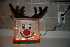 Lit Reindeer Glass Block Ornament | eBay