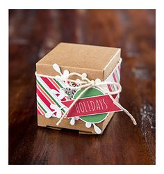 Stampin' Up! - Holidays Tiny Treat Box November/December 2014: Cover Creations 25 Days Stamp Set, Watercolor Winter Too Stamp Set, Nordic Noel DSP, All Is Calm Snowflake Embellishments, Snowflake Card Thinlits Dies
