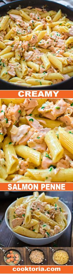 Creamy salmon pasta (add Cajun seasoning, peas, bell peppers, asparagus)